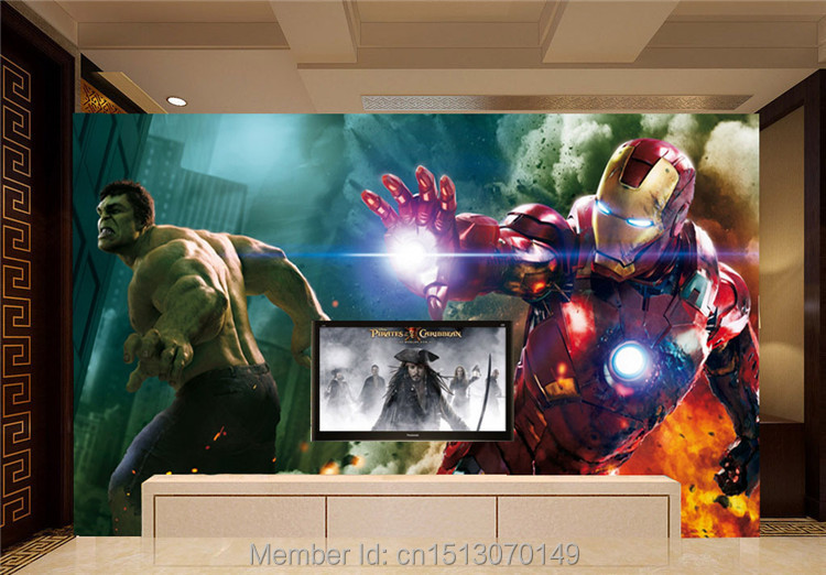 Photo wallpaper picture more detailed picture about the avengers wall mural iron man hulk - Avengers room decor ideas ...