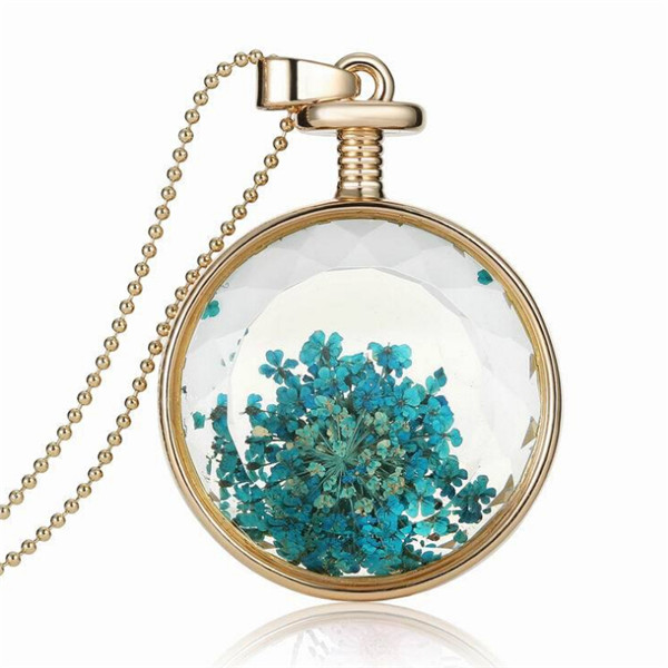 product 2015 new dry flower article brand fashion austrian crystal Perfume Bottle  round Pendants Choker chain Necklace Jewelry 3559