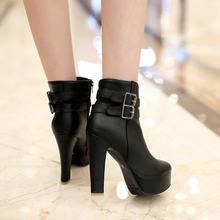 Bayan Faux Deri Rahat yarım çizmeler Platformu Yüksek Topuk Patik Kadın Moda Toka Kış Elbise Ayakkabı Siyah Beyaz(China)