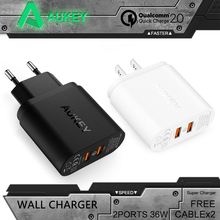 Aukey Quick Charger QC 2.0 Dual ports 36W USB Turbo QC 2.0 Wall Charger Sony HTC EU/US Plug Fast Charger