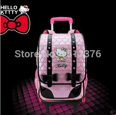 hello kitty school bags mochila infantil escolar children trolley bag backpack schoolgirl 1-3-6 grade three wheels
