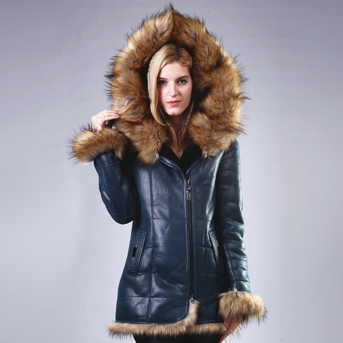 Women Coat Artificial sheepskin Raccoon Dog Fur Faux Leather Hooded collar Lady suit coat Direct supply from factory wholesale