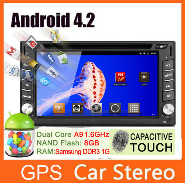 Double 2 din Pure Android 4.2 GPS Navi Car Radio DVD CD Video Player Universal 6.2'' Car PC Audio Stereo Ipod+tv+fm am+bt+usb sd(China (Mainland))
