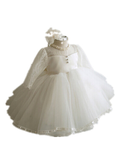 BABY WOW White Ivory Full Sleeve Baby Girl Dress Weddings Christmas 1 Year Birthday Baptism Christening Gowns 80107 - linhaiying baby formal dress store