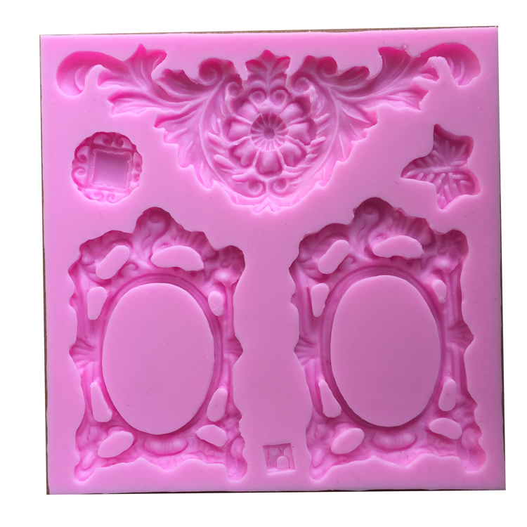 Free shipping Picture frame flower cooking tools decoration Silicone Mould Fondant Sugar Bow Craft Molds DIY Cake Decorating(China (Mainland))
