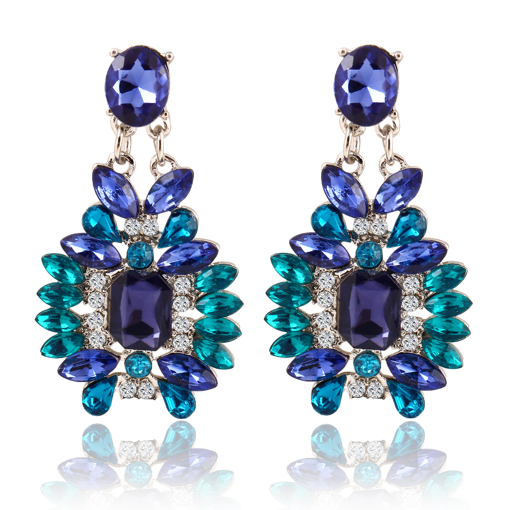 New Summer Bohemian Colorful Big Drop Earrings Fashion Accessories Crystal Dangle Earrings Jewelry Women Gift(China (Mainland))