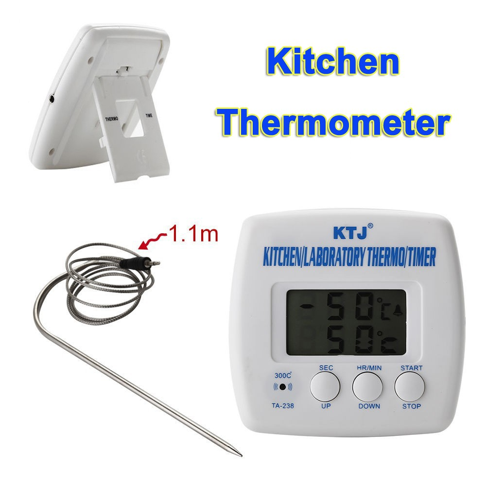 Premium Digital LCD Display Kitchen Cooking Food Meat BBQ Thermometer Timer Alarm Clock Probe Sensor Home  -  Bravo!! store