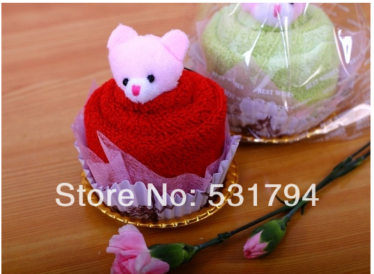 High quality 10piece/lot manufacturers selling cake towel windmill bear wedding gift wedding special Valentine's Day gift(China (Mainland))