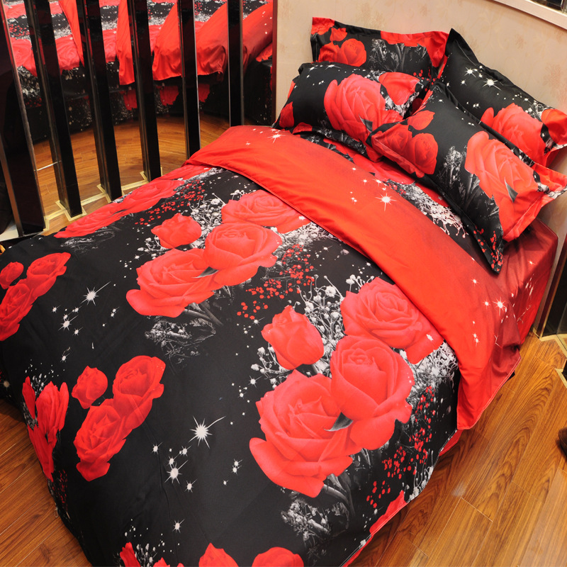 3D Bedding Sets Black and Red Rose 3d Printing Duvet Cover with Flat Bed Sheet Set 4pcs Queen Double Bed Cover Bedlinen(China (Mainland))