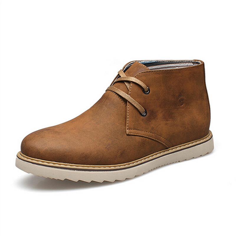 New Men Boots 2015 Winter Fashion High Top Lace Up Martin Boots British Male Casual Platform Shoes Sapato Masculino Brown 3A(China (Mainland))