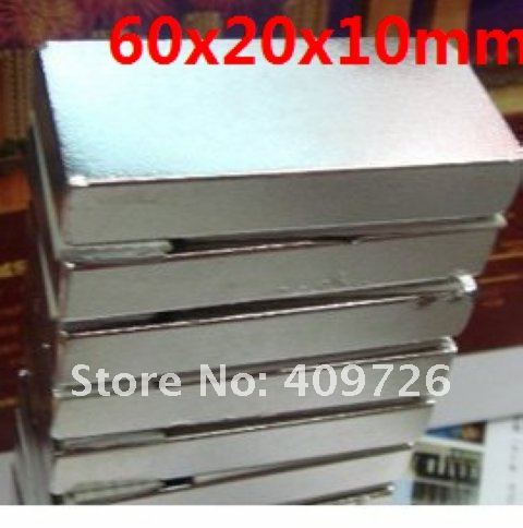 2pcs/Pack Super Powerful Strong Rare Earth Block NdFeB Magnet Neodymium N35 Magnets 60x20x10mm--free shipping(China (Mainland))