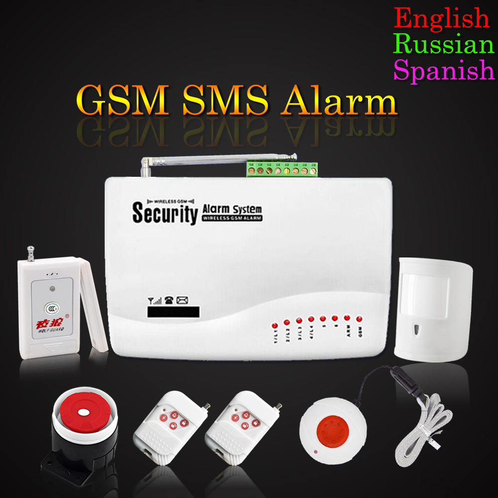 Promotion for Russian/English/Spanish Voice Wireless GSM Alarm System PIR SOS Emergency Button For Old People And Children(China (Mainland))