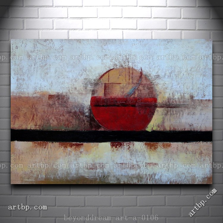 Abstract Painting Ocean Sunrise Oil Painting Abstract Modern Nonobjective Canvas Wall Art Set Room Painting Designs Free(China (Mainland))