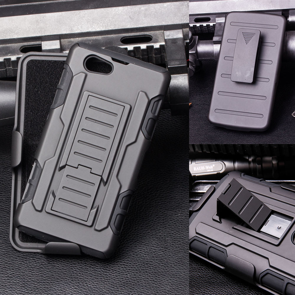 Shockproof Hard Case for Sony Xperia Z1 Compact Mini Z5 C4 C5 T2 Ultra M4 Aqua Armor Hybrid Stand Cell Phone Cover Shell Bags(China (Mainland))