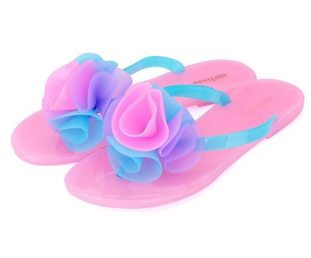 Цветочные Сандалии женщин летняя обувь желе квартиры марка вьетнамки лук галстук ...