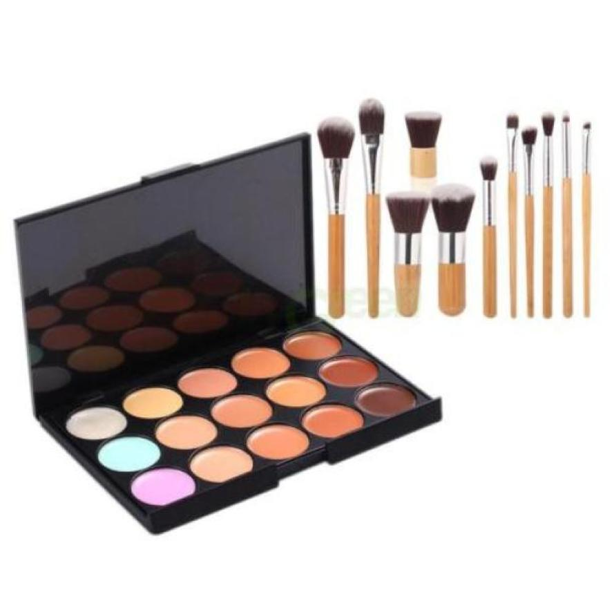 Hot Selling ! Superior 15 Colors Face Concealer Camouflage Cream Contour Palette 11PC Bamboo Brush Set June 14(China (Mainland))