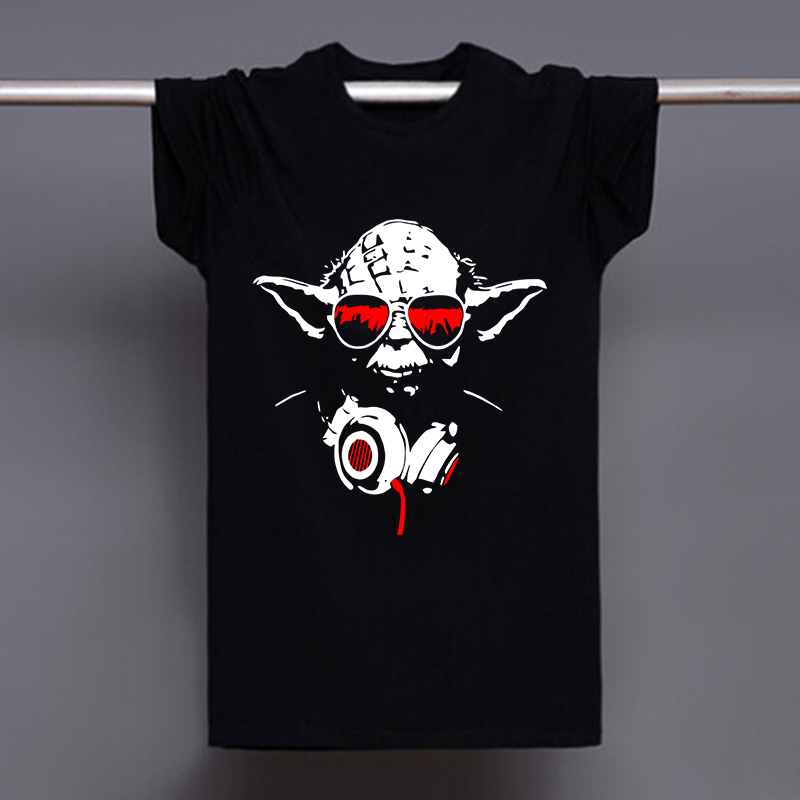 Mens Yoda Cool Dj Hip Hop Star Wars Darth Vader T Shirts Male Cotton Short Sleeve