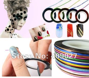 180pcs 18Colors Can Choose Striping Tape Metallic Yarn Line 3D Nail Art Decoration Sticker