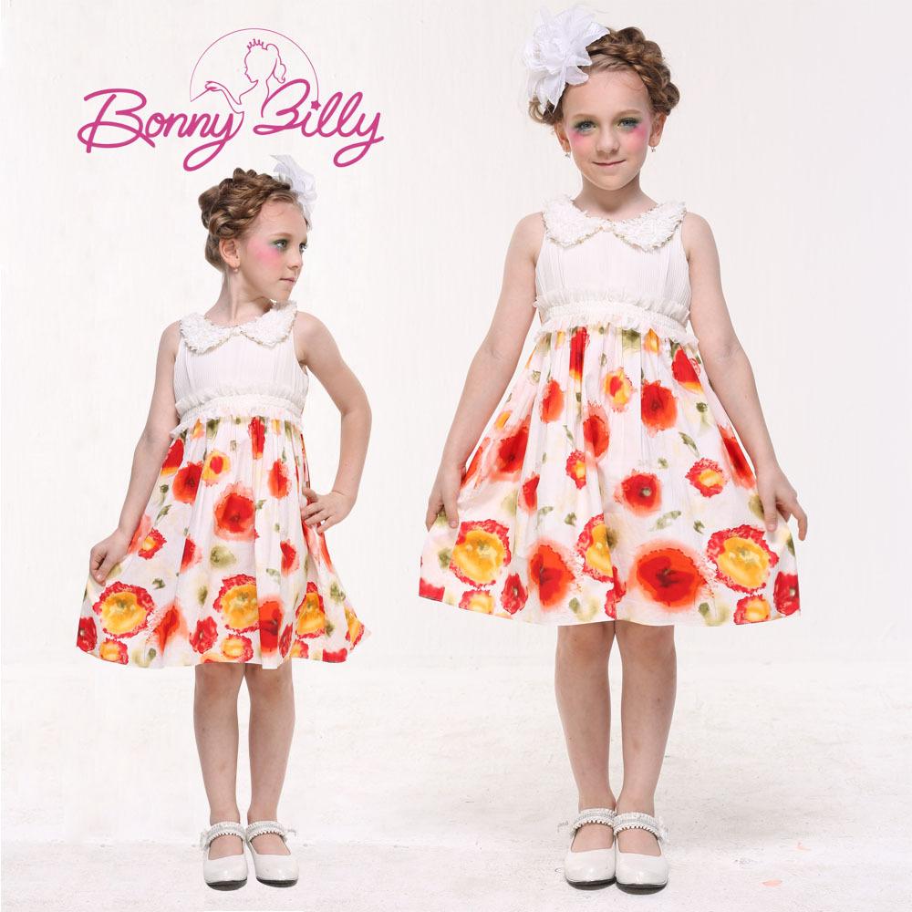 New Fashion Bonnybilly Chiffon Teen Girl Dress Summer Cute kid vestidos plus size hot sale(China (Mainland))