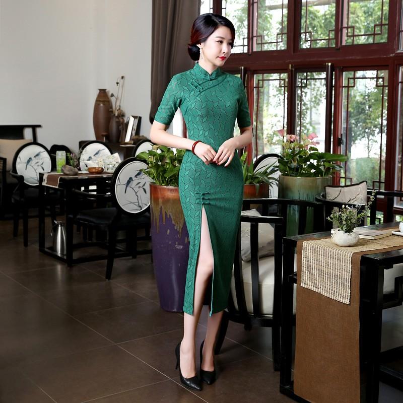 ใหม่สีเขียววินเทจสตรีลูกไม้ยาวCheongsamแฟชั่นสไตล์จีนชุดที่สง่างามQipaoขนาดSml XL XXL XXXL F101401 ถูก