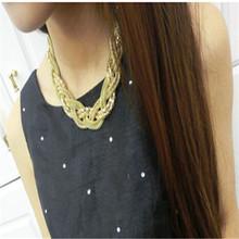 High Quality Wholesale 2015 Bohemian Jewelry Fashion Twist Knit Necklace Choker Collar Women Statement Necklaces Pendants
