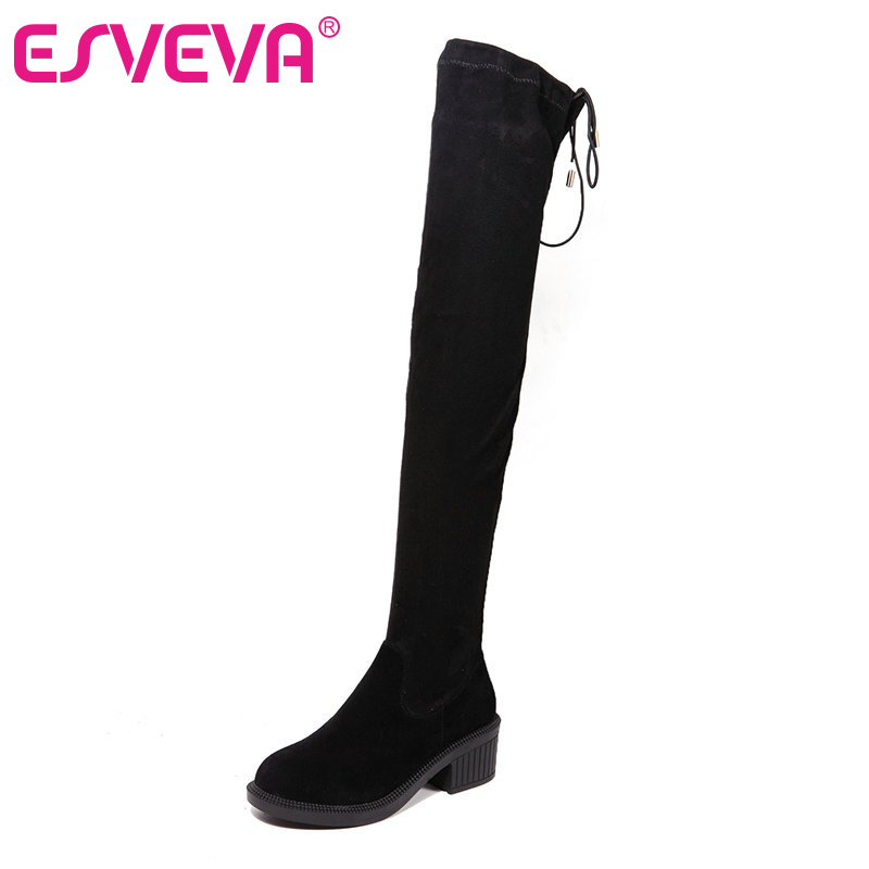 Фотография ESVEVA Lace Up Women Boots High Heel Shoes Women Real Leather Thick Heel Winter Long Boots Ladies Over The Knee Boots Size 34-39
