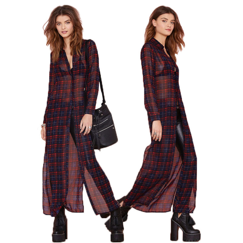 free shipping spring 2015 New England plaid long-sleeved sun shirt chiffon Women's Clothing Dresses wholesale(China (Mainland))