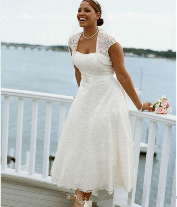 Davids Bridal Plus Size Wedding Dresses: New Style Strapless Tea Length Lace Short Sleeve Plus Size