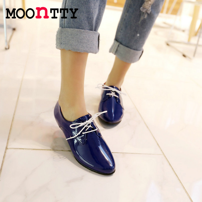 MOONTTY Leisure Pu Patent Leather Round Toe Women Pumps Lace Up Square Heels Autumn/Spring Lady Party Shoes Size 34-43 Blue<br><br>Aliexpress
