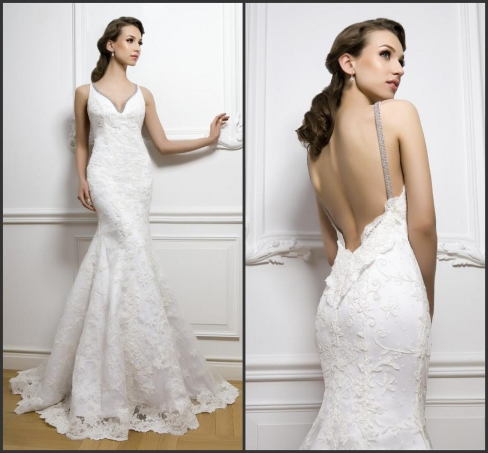 Backless Mermaid Gown: 2015 White Backless Wedding Dresses Mermaid Lace Sweep
