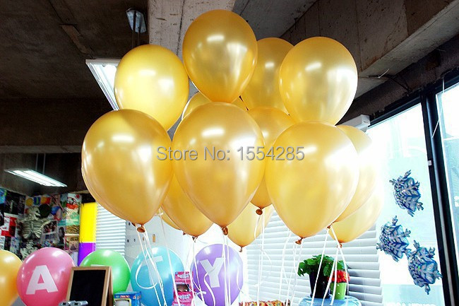 10-inch 100pcs\lot pearl GOLD balloons wedding room decoration preferred birthday party baloons inflatable balls free shipping(China (Mainland))