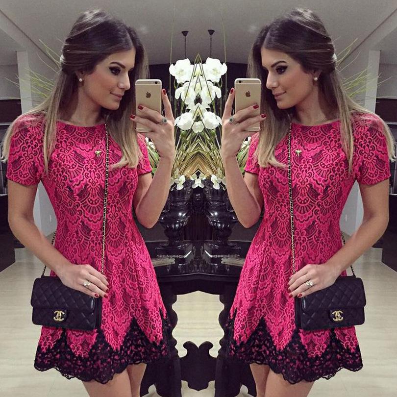 2015 aliexpress Europe women's boutique 2015 summer Red Lace high waist dress C64(China (Mainland))