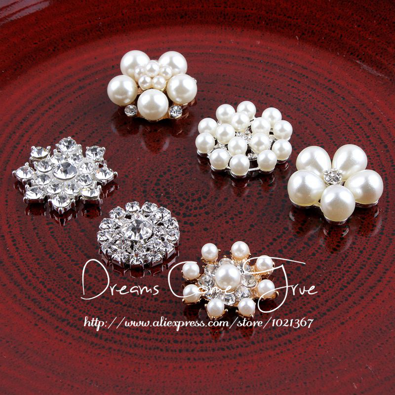 (20pcs/lot) 6Styles Bling Metal Flatback Rhinestone Buttons For Wedding Embellishment Alloy Decorative Pearl Buttons For Craft(China (Mainland))