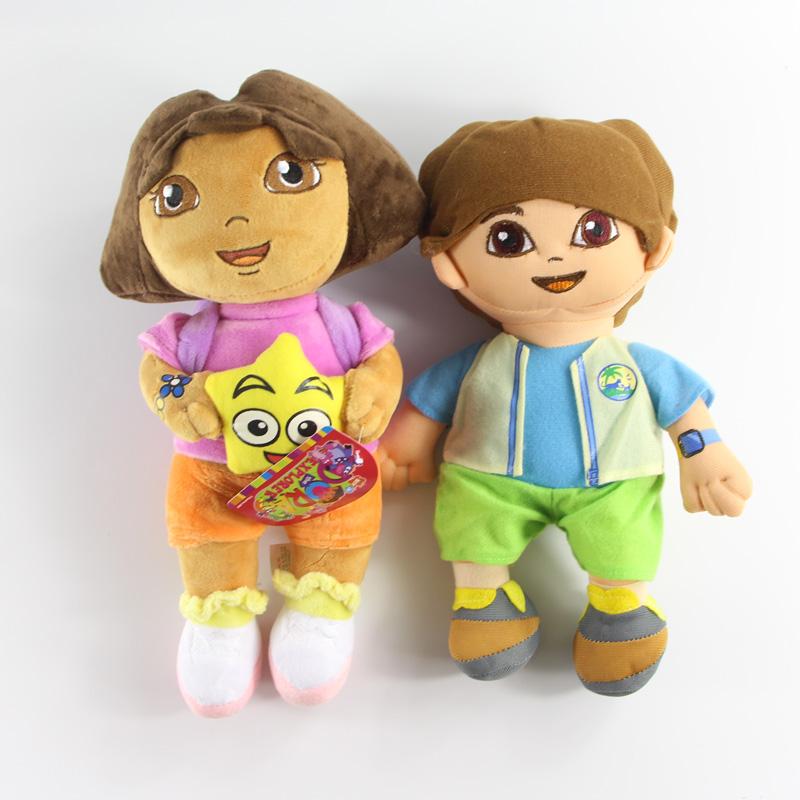 35cm Dora the Explorer Girls Plush Toys and 30cm Diego(China (Mainland))
