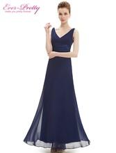 Evening Dress Ever Pretty HE09601 Long Maxi Sexy Double V-neck Chiffon 2016 Vestidos Women Party Events Special Occasion Dress(China (Mainland))