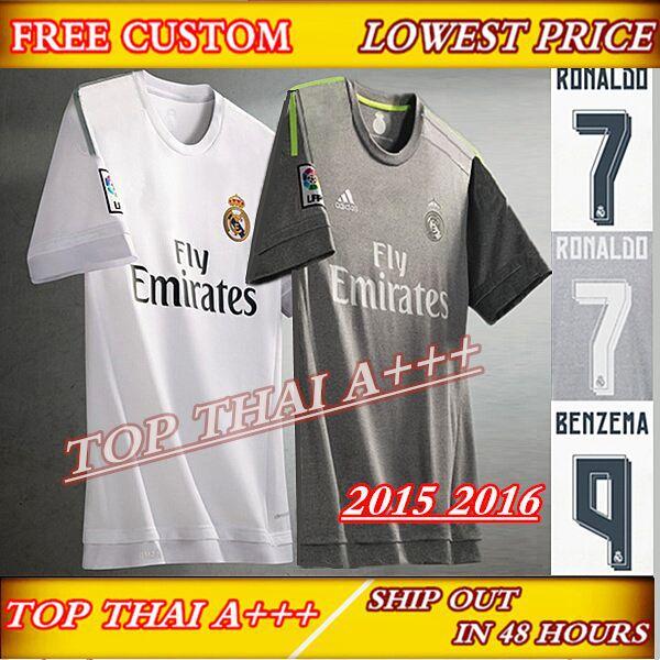 Soccer Jerseys Real Madrid 15/16 Real Madrid Jersey 2016 White Grey Shirt 15 16 Survetement Football Jerseys Camisetas de Futbol(China (Mainland))