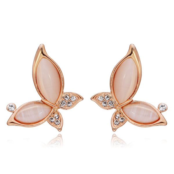 NICETER Cute Animal Opal Stud Earrings Women Fashion Brincos Butterfly Elegant  -  Niceter Jewelry store