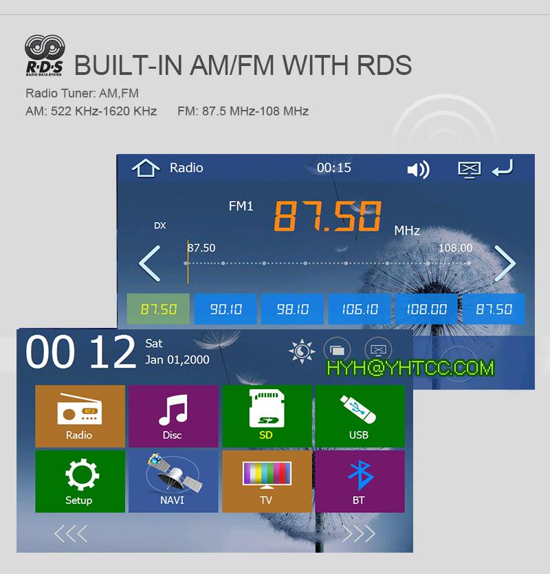 "Sliding Down Car DVD Player In-dash Car PC GPS Navigation TV BT AUX USB SD 7"" Double 2 Din Car PC Radio Bluetooth +Rear Camera(China (Mainland))"