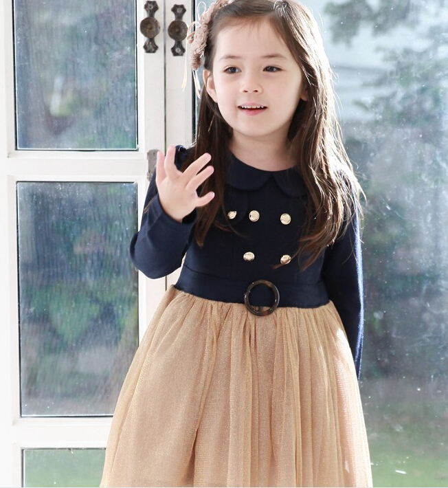 Children Girls Patchwork Dresses For Autumn Button Kids Mesh Ruched Sashes Clothes Baby Turn-down Collar Clothing 5pcs/LOT<br><br>Aliexpress