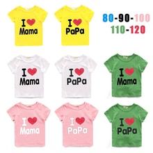 New 2015 Baby Girls T-Shirt Kids Short Sleeve T-shirt Children Summer Clothing love mama and papa pattern Retail