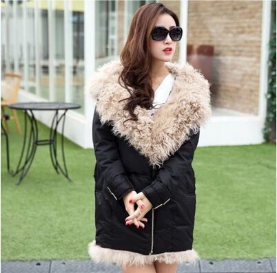 real thing 2014 Winter clothing new Lambs wool hooded jacket female long upset collars Cotton-padded clothes coat - The international fashion stores store