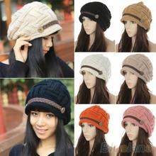 Women's Fashion Braided Autumn Winter Warm Baggy Beanie Knit Crochet Ski Hat Cap