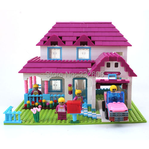 Ausini Building Blocks Hot Toys Girls Lovely Villa House Construction Sets Model Kits Christmas Gift - C&T store