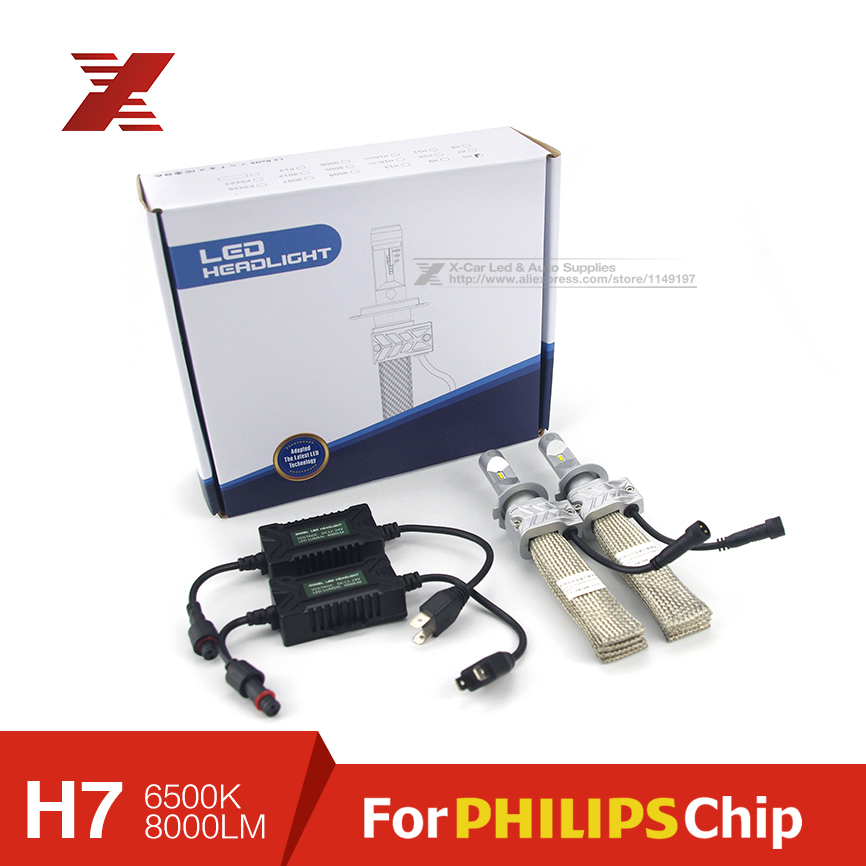 2x Plug&Play H7 Car LED Headlight 8000LM For Philips LUXEON Chip Car Fog DRL Replace Light Source Driving Bulbs Copper Cooling(China (Mainland))