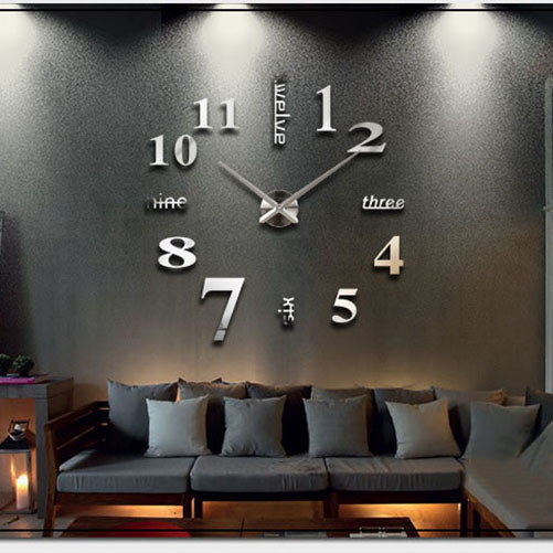 New Fashion Eco 3D Mirror Surface Large Number DIY Wall Clock Home Decoration Art Design Unique Gift(China (Mainland))