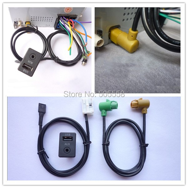 AUX USB SWITCH CABLE FOR RCD510 310+ 300 RNS315 VW MK6 GOLF JETTA CC PASSAT B6 B7(China (Mainland))