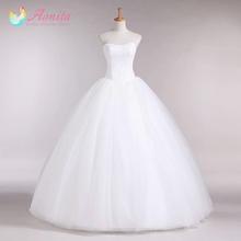 Aonita New Arrival Strapless White Tulle Silk Organza Vera Wedding Dresses Simple And Elegant Bridal Ball Gown Vestido De Noiva(China (Mainland))