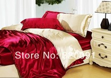 4 or 5Piece Set Full Queen Size Imitated Silk Satin Splicing Design Bed Linen Duvet Cover Set Comforter Sets in Burgundy/Beige (China (Mainland))
