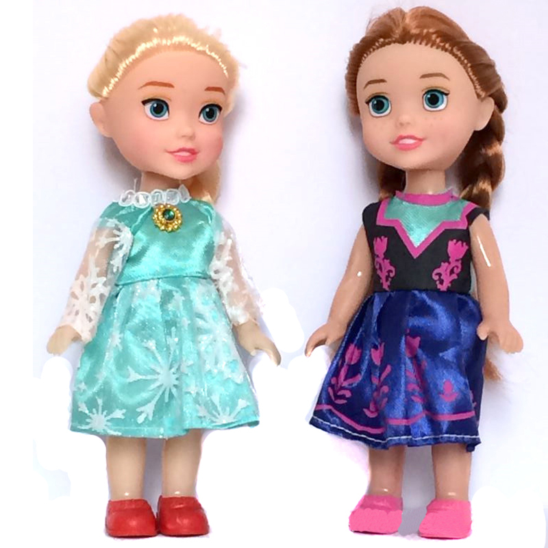 2pcs 2015 Princess Anna Elsa Dolls For Girls Toys,bonecas das princesas La Reine Des Neiges,16cm Small Plastic Congelados Doll(China (Mainland))