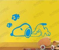 Cartoon sleeping Dog Children kids Bedroom Removable Wall Decals Vinyl wall sticker home decoration Decor